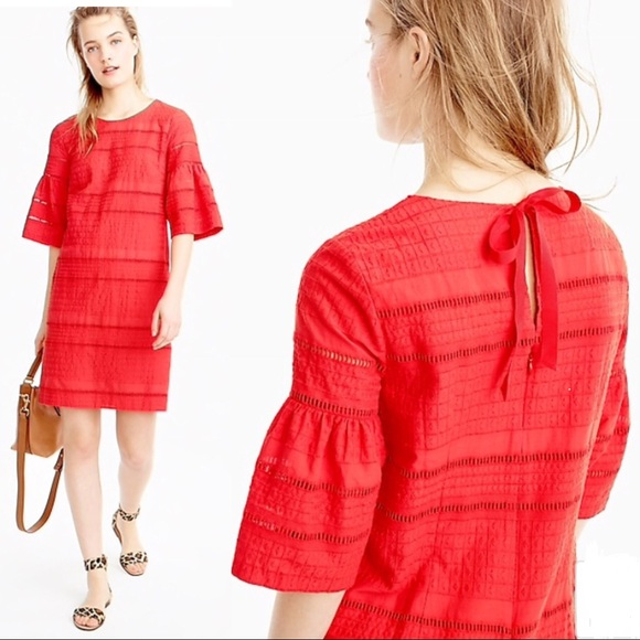 e37cfaacd1c J. Crew Flutter Sleeve Eyelet Shift Dress - Red